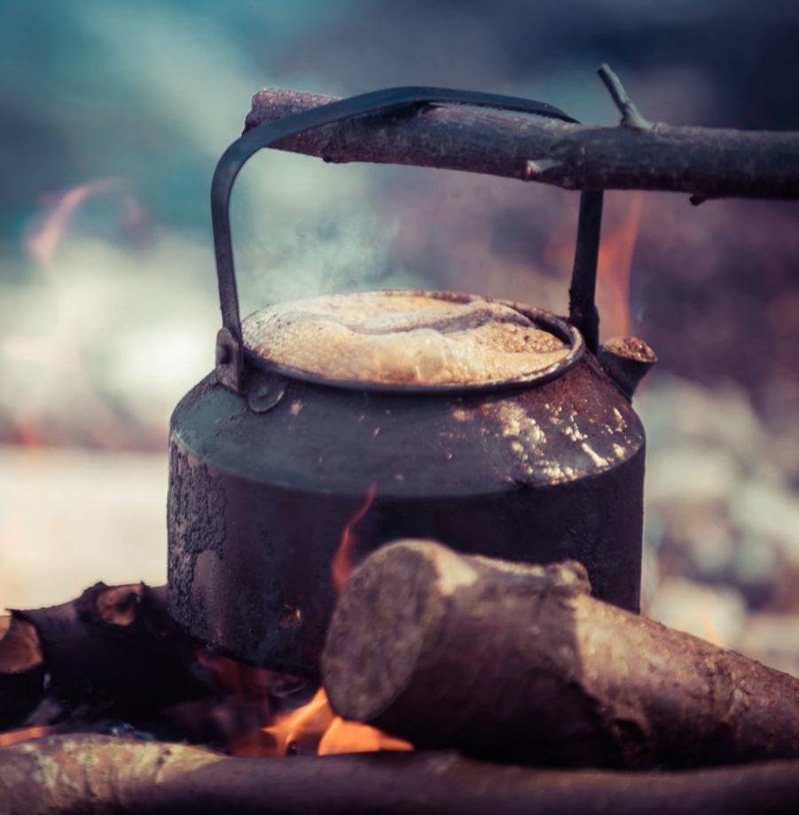 Lemmel Kande med Læder etui til Kokkaffe ,Lemmel,Kokkaffe,kogekaffe,Kande,kaffekande,bålkaffe