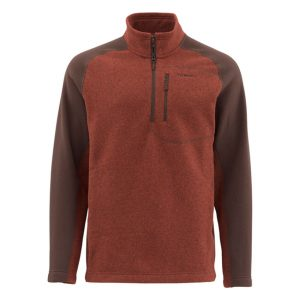 Simms Rivershed-Sweater-Quarter-Zip.Rusty-red